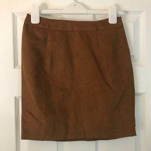 NWOT boohoo faux suede cognac mini skirt